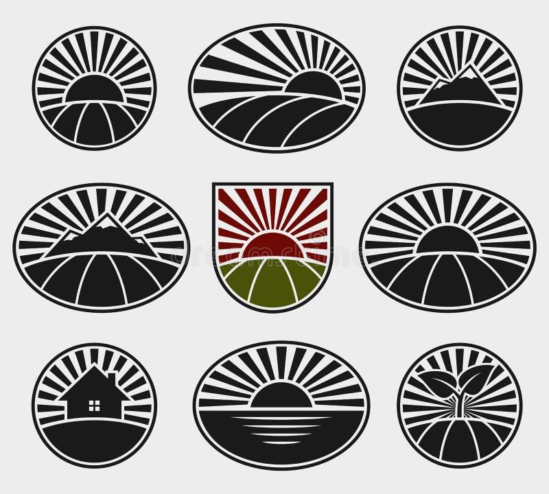 Sistema de etiquetas del paisaje Vector libre illustration