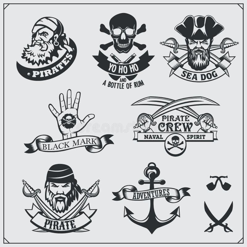 Sistema de etiquetas del pirata, de emblemas, de insignias y de elementos del diseño stock de ilustración