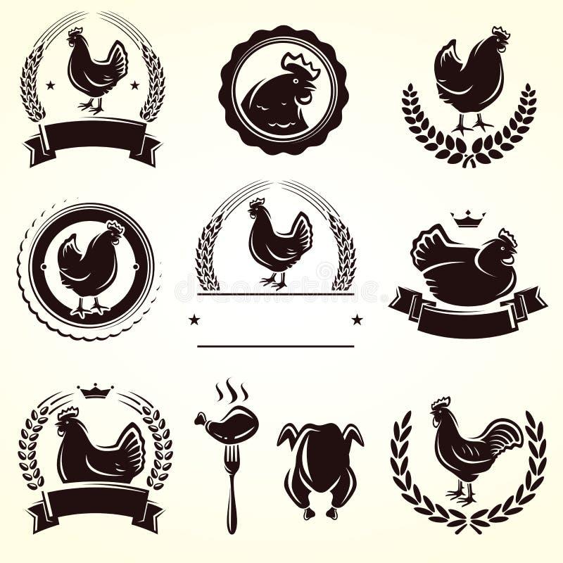 Sistema de etiquetas del pollo Vector ilustración del vector