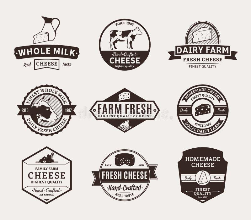 Sistema de etiquetas del queso del vector, de iconos y de elementos del diseño stock de ilustración