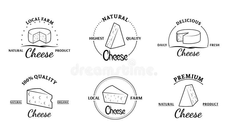 Sistema de etiquetas del queso del vector y de elementos del diseño ilustración del vector