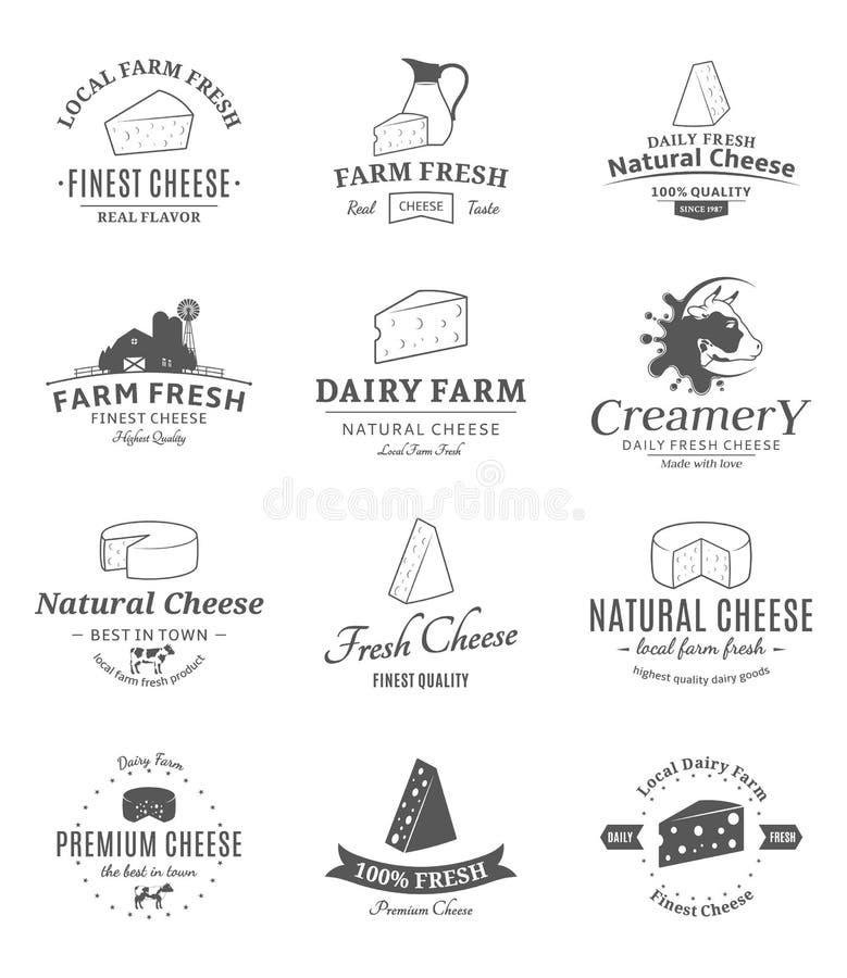 Sistema de etiquetas del queso del vector y de elementos del diseño stock de ilustración