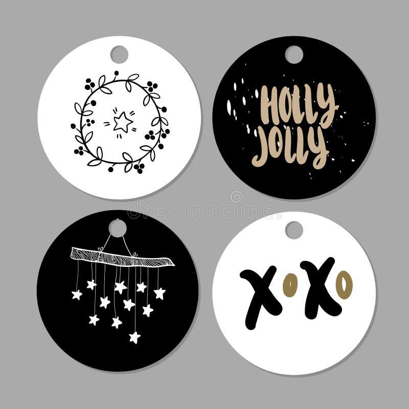 Sistema de etiquetas del regalo de la Navidad del garabato Iconos lindos dibujados mano del vector Printables escandinavos del es ilustración del vector