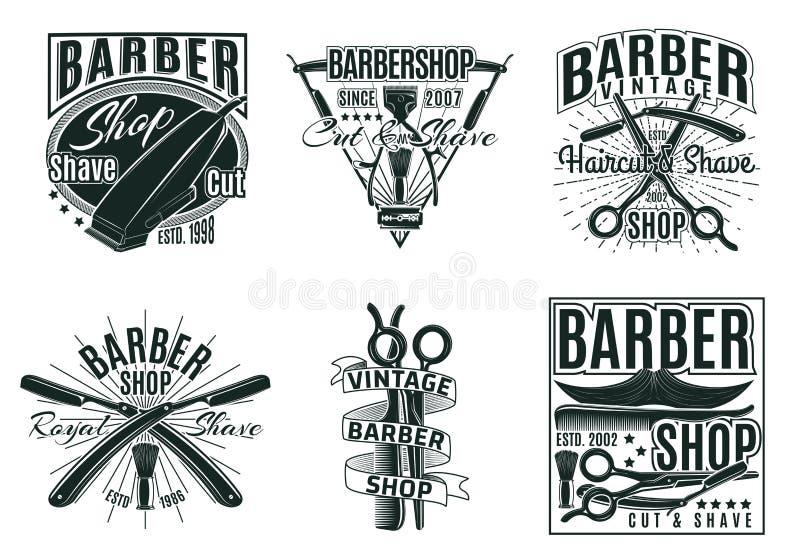Sistema de etiquetas del salón del pelo del vintage stock de ilustración
