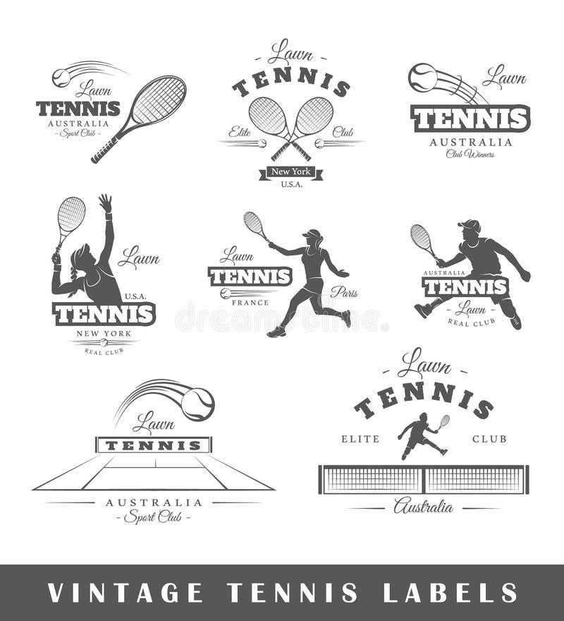 Sistema de etiquetas del tenis del vintage libre illustration