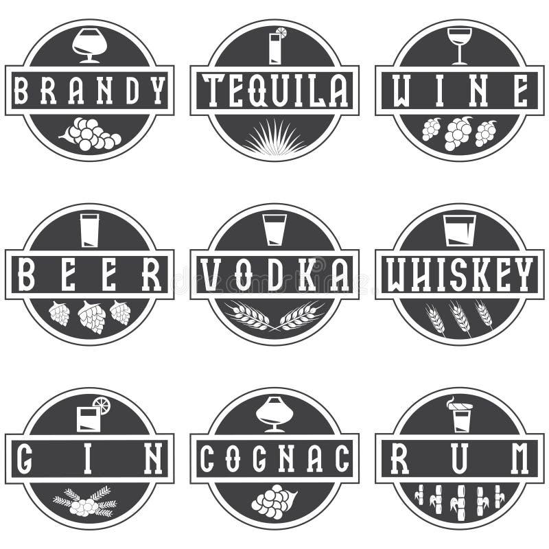 sistema de etiquetas del vector de bebidas del alcohol stock de ilustración