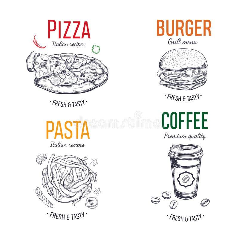 Sistema de etiquetas del vector, logotipo, etiquetas engomadas stock de ilustración