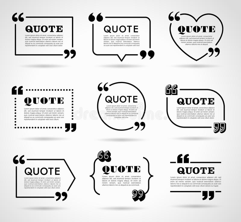 Sistema de etiquetas del vector para las citas del texto libre illustration