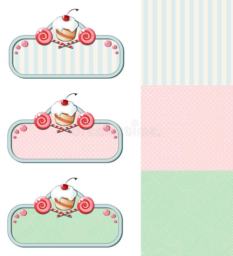 Sistema de etiquetas del vintage con la magdalena y los caramelos stock de ilustración