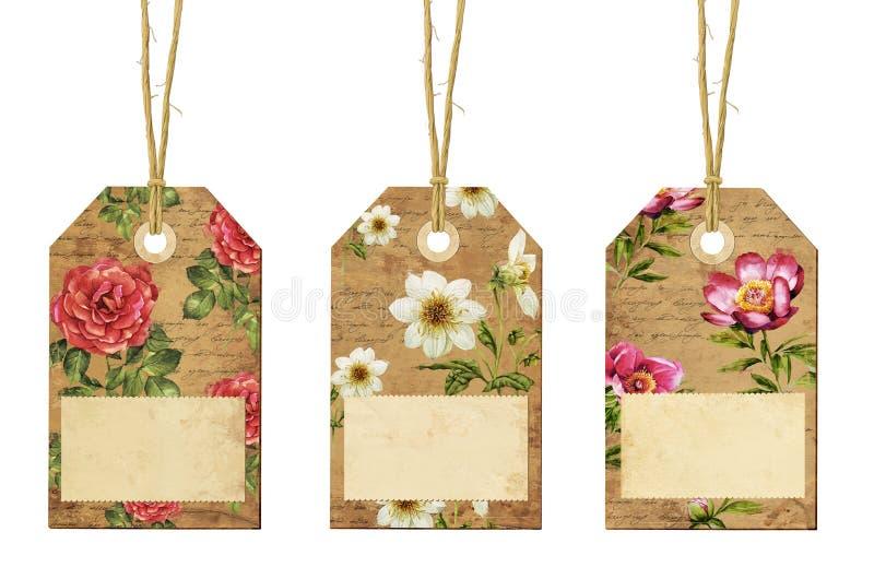Sistema de etiquetas del vintage con las flores imágenes de archivo libres de regalías