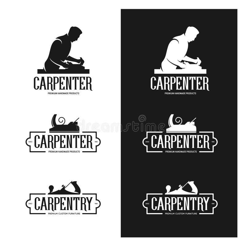 Sistema de etiquetas del vintage de la carpintería Emblemas del carpintero Ilustración del vector stock de ilustración