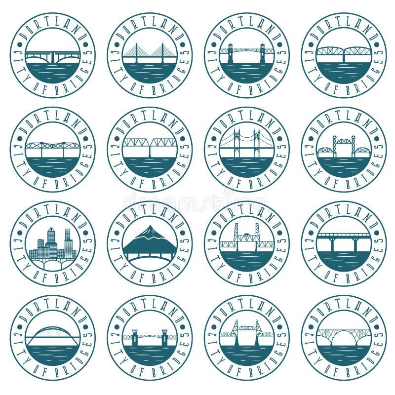 Sistema de etiquetas del vintage de Portland, Oregon, Emblemas retros de ilustración del vector