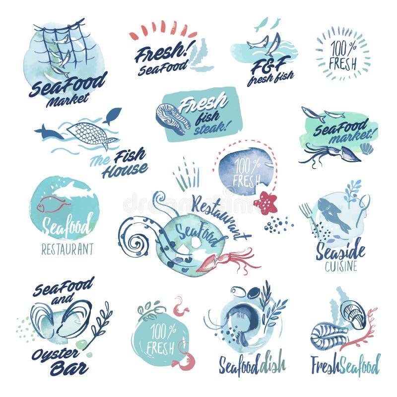 Sistema de etiquetas dibujadas mano de la acuarela e insignias de los mariscos stock de ilustración