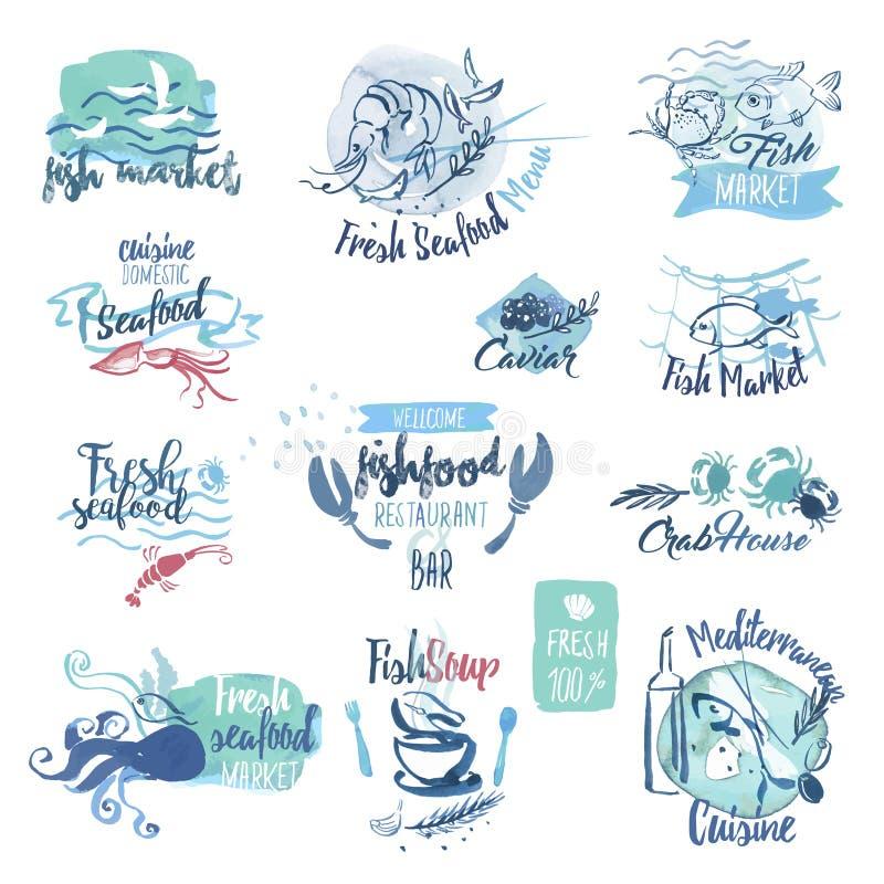 Sistema de etiquetas dibujadas mano de la acuarela y elementos de los mariscos stock de ilustración