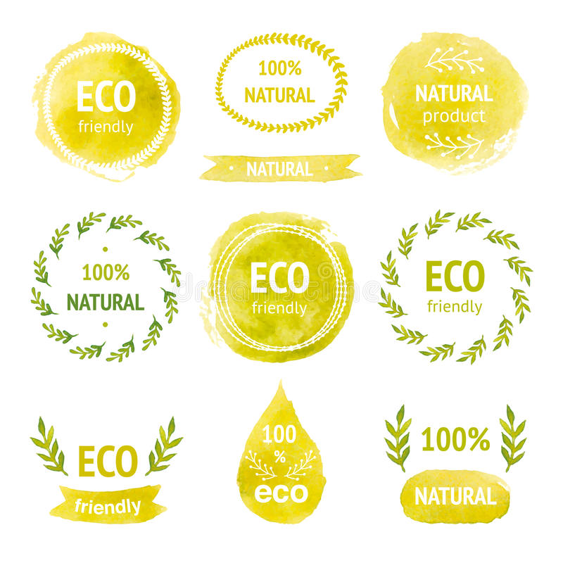 Sistema de etiquetas dibujadas mano del eco de la acuarela libre illustration