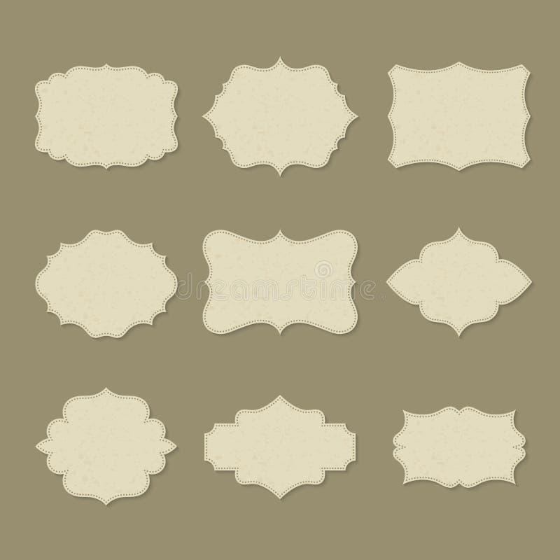 Sistema de etiquetas en blanco retras aisladas o del logotipo vacío stock de ilustración