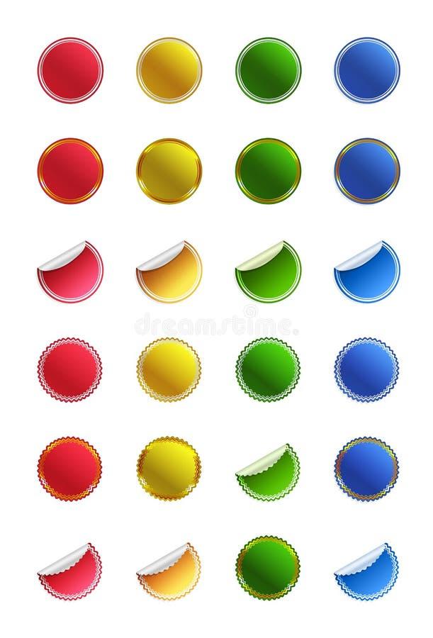 Sistema de etiquetas engomadas brillantes de los botones ilustración del vector