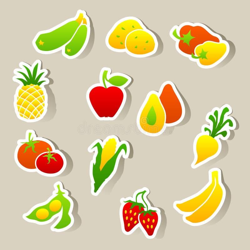 Sistema de etiquetas engomadas de la fruta y verdura ilustración del vector