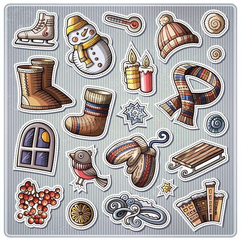 Sistema de etiquetas engomadas de la historieta de la estación del invierno stock de ilustración