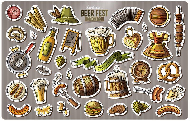 Sistema de etiquetas engomadas de la historieta del fest de la cerveza ilustración del vector