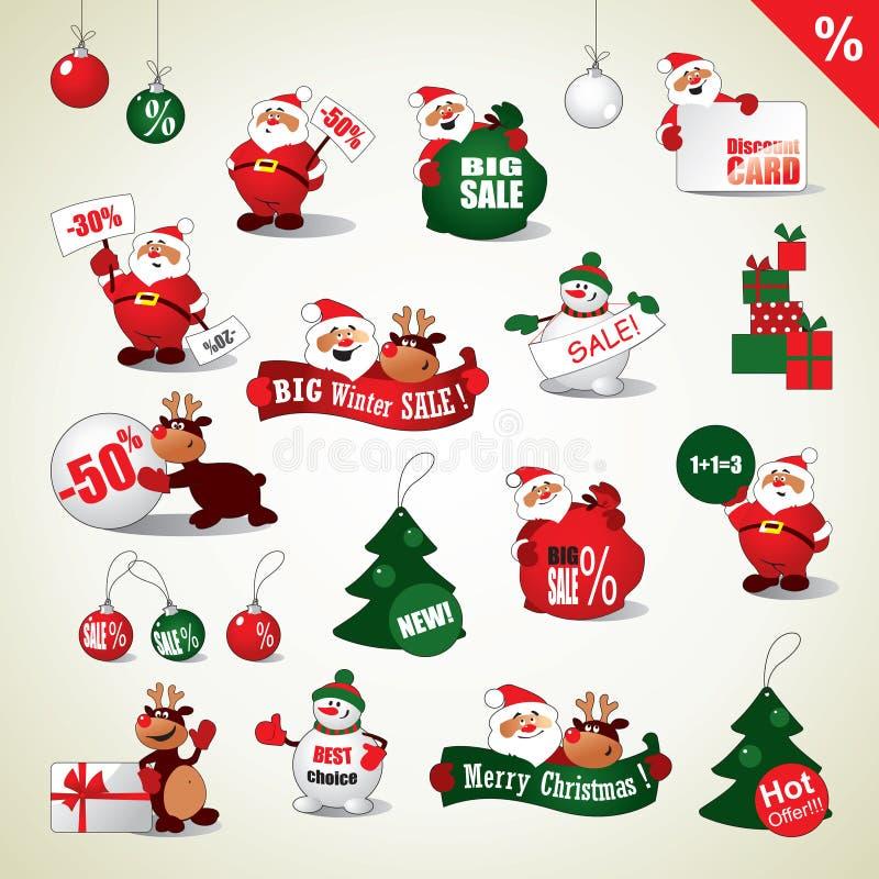 Sistema de etiquetas engomadas de la Navidad y de iconos de la venta ilustración del vector