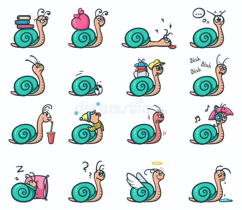 Sistema de 16 etiquetas engomadas de las emociones del humor de caracoles lindos en diversas posiciones - vector el ejemplo ilustración del vector