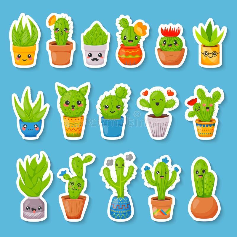 Sistema de 16 etiquetas engomadas lindas del cactus y de los succulents de la historieta Cactus de Kawaii con las caras divertida stock de ilustración