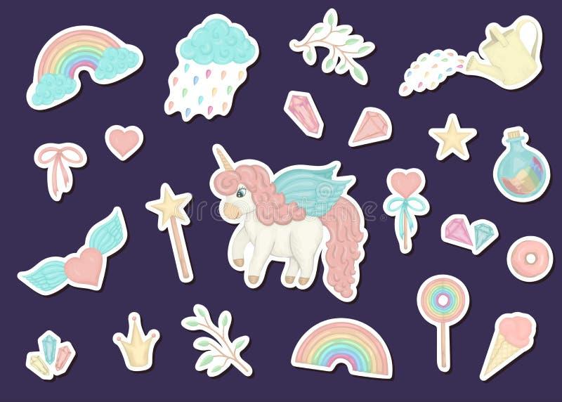 Sistema de etiquetas engomadas lindas del estilo de la acuarela con unicornios, arco iris, nubes, anillos de espuma, corona, cris stock de ilustración