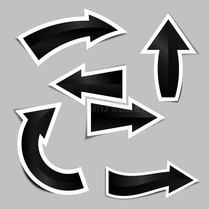 Sistema de etiquetas engomadas negras de la flecha con la sombra libre illustration