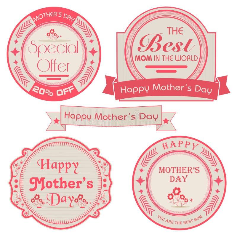 Sistema de etiquetas engomadas o de etiquetas para el día de madre feliz ilustración del vector