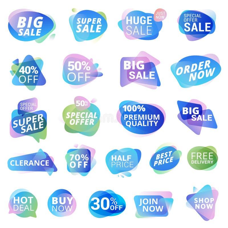 Sistema de etiquetas engomadas y de etiquetas para la venta, promoción del producto, oferta especial, haciendo compras libre illustration