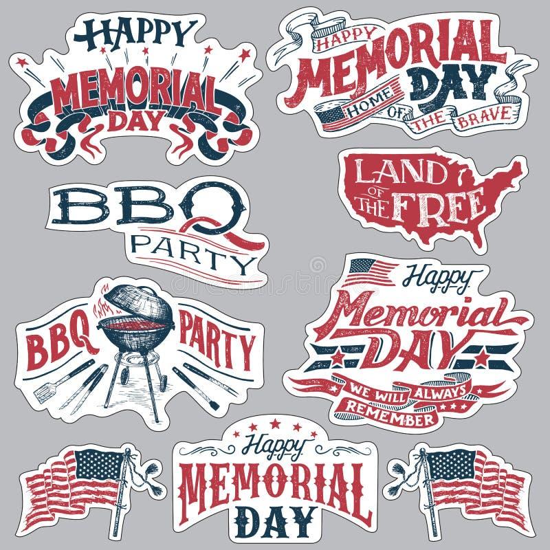 Sistema de etiquetas feliz del partido de la barbacoa de Memorial Day stock de ilustración