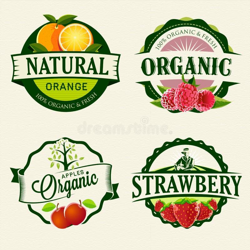 Sistema de etiquetas frescas y orgánicas ilustración del vector