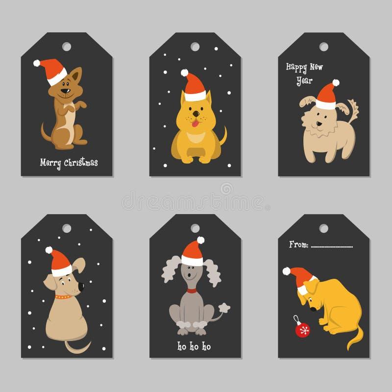 Sistema de etiquetas de la Navidad con los perros de la historieta ilustración del vector