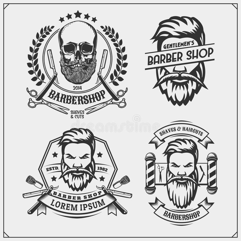 Sistema de etiquetas de la peluquería de caballeros del vintage, de insignias, de emblemas y de elementos del diseño stock de ilustración