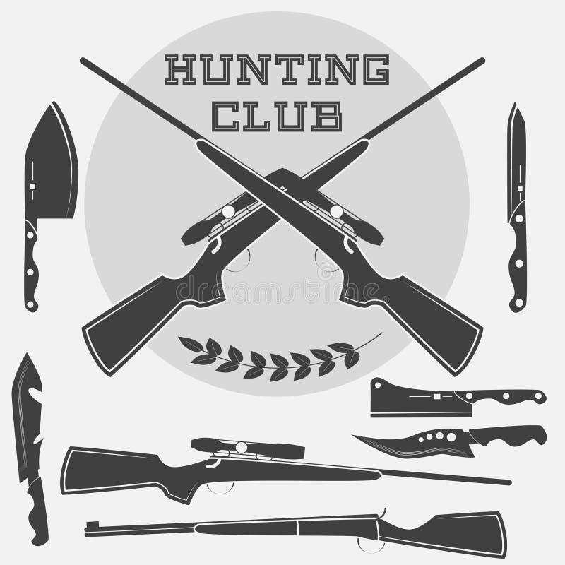 Sistema de etiquetas de las armas, de emblemas y de elementos retros del diseño libre illustration