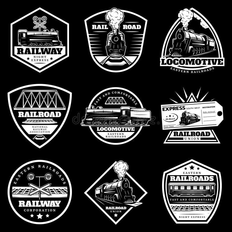 Sistema de etiquetas locomotor blanco del tren del vintage stock de ilustración