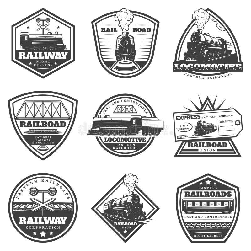 Sistema de etiquetas locomotor monocromático del vintage libre illustration