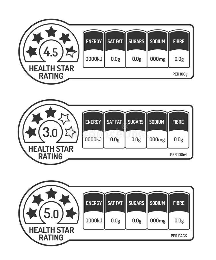 Sistema de etiquetas de los hechos de la nutrición con el clasificación de la estrella de la salud blanco y negro ilustración del vector