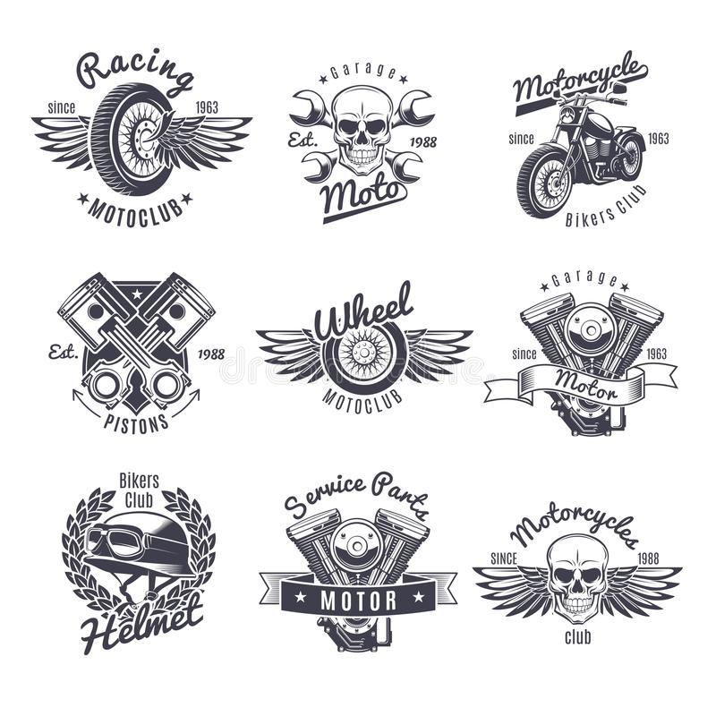 Sistema de etiquetas monocromático de la motocicleta del vintage libre illustration