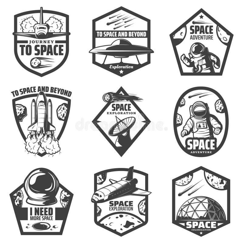 Sistema de etiquetas monocromático del espacio del vintage ilustración del vector