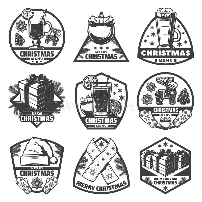 Sistema de etiquetas monocromático del menú de la Navidad del vintage ilustración del vector
