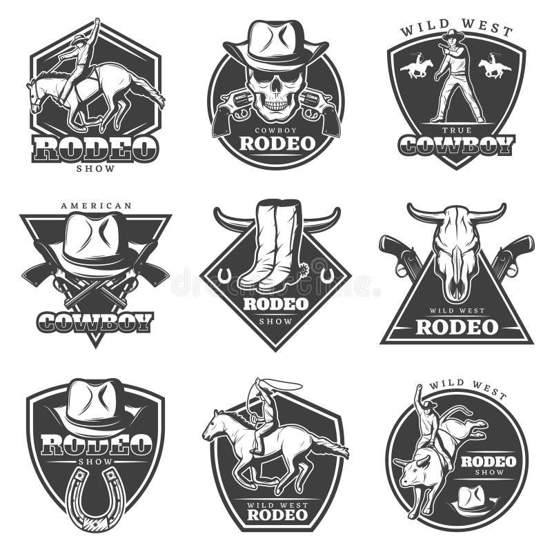 Sistema de etiquetas monocromático del rodeo libre illustration
