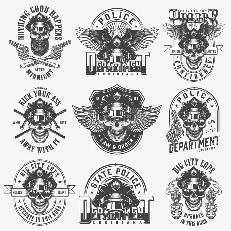 Sistema de etiquetas monocromático de la policía del vintage ilustración del vector