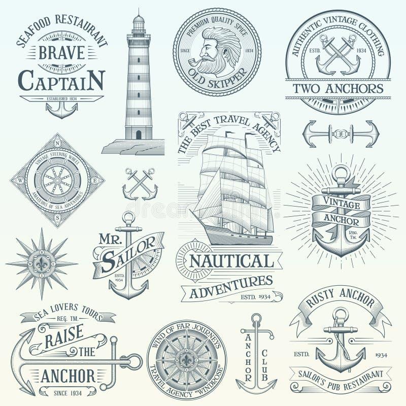 Sistema de etiquetas náuticas del vintage libre illustration