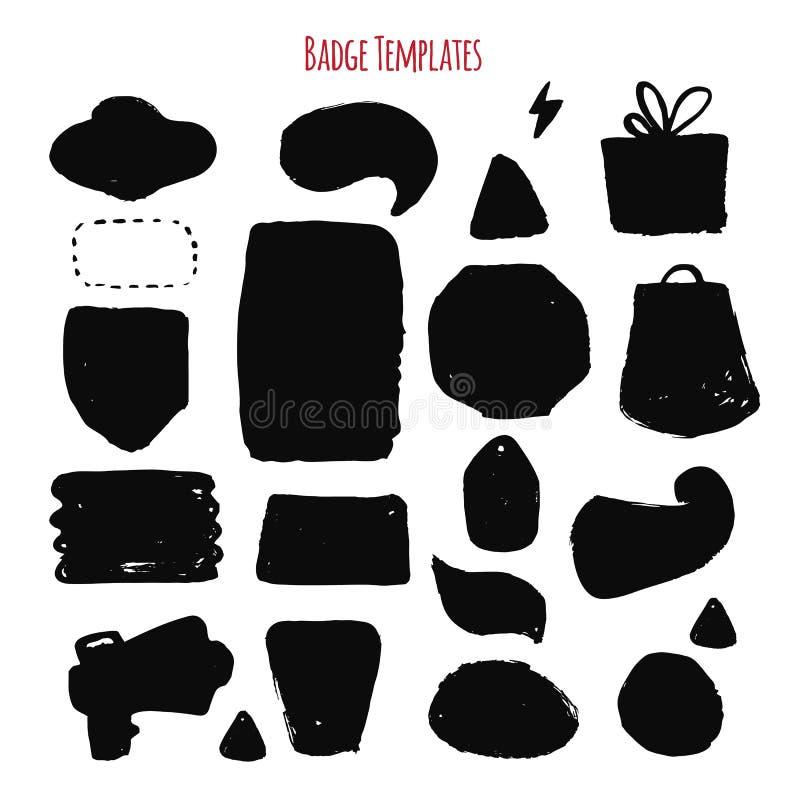 Sistema de etiquetas oscuro moderno del grunge, textura sucia aislado en el fondo blanco libre illustration