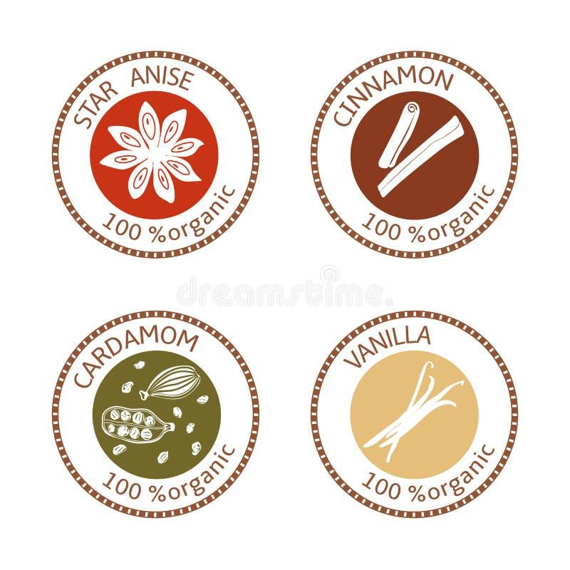 Sistema de etiquetas planas del sello de las especias 100 orgánicos colección ilustración del vector