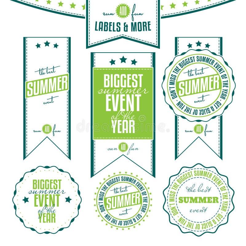 Sistema de etiquetas relacionadas del vintage de los eventos del verano ilustración del vector