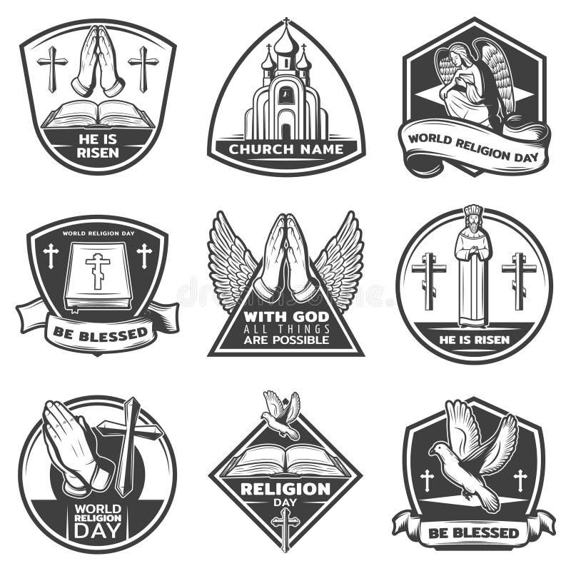 Sistema de etiquetas religioso monocromático del vintage ilustración del vector
