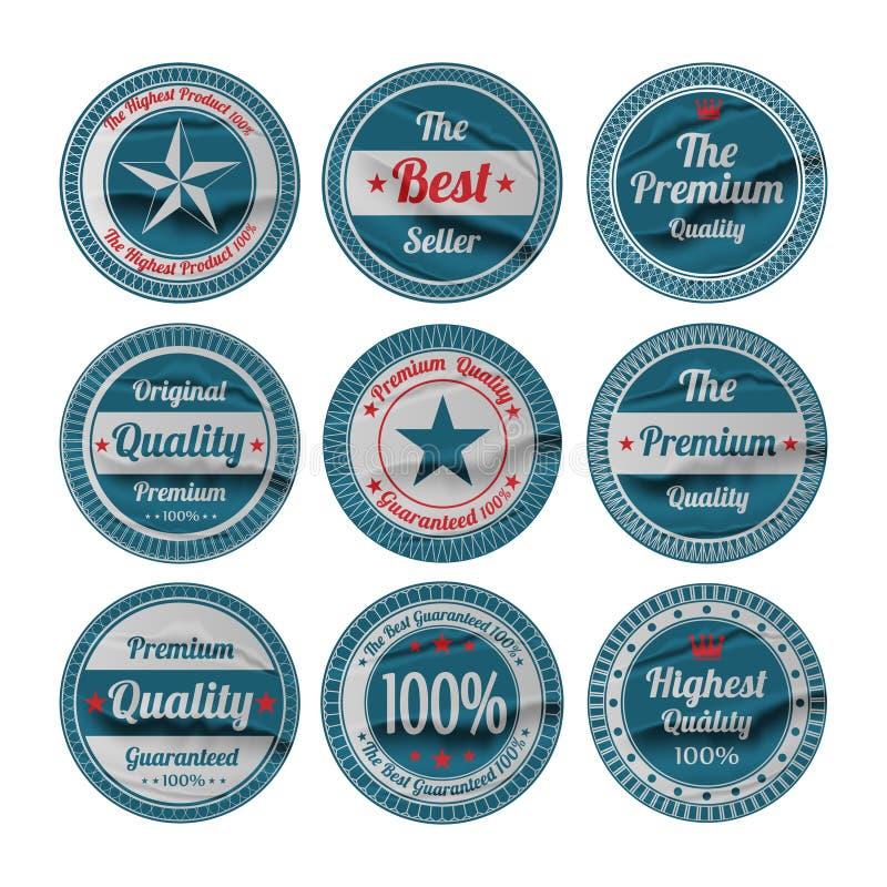 Sistema de etiquetas superior de la calidad del vintage stock de ilustración
